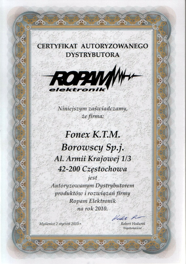 Certyfikat autoryzowanego dystrybutora ROPAM elektronik FONEX
