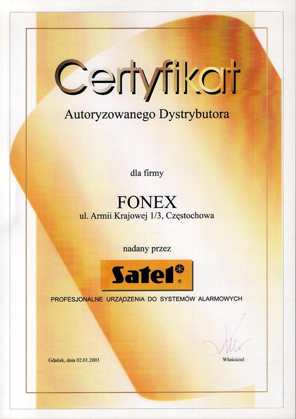 Certyfikat autoryzowanego dystrybutora SATEL FONEX