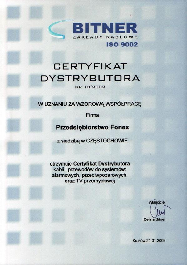 Certyfikat dystrybutora BITNER Fonex