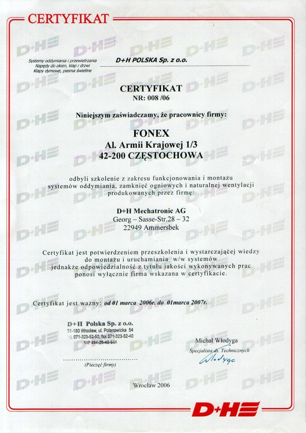 Certyfikat D+H Polska Sp. z o.o. FONEX