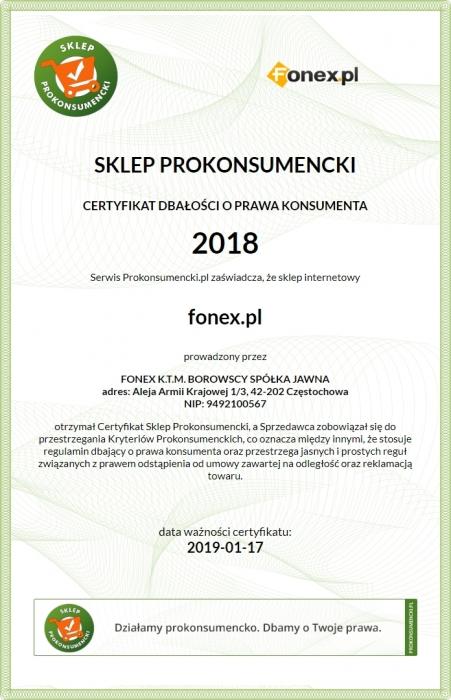 Certyfikat Dbałości o Prawa Konsumenta 2018, Fonex